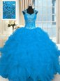 Colorful Floor Length Ball Gowns Cap Sleeves Aqua Blue Ball Gown Prom Dress Lace Up