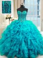 Free and Easy Baby Blue Ball Gowns Beading and Ruffles Quince Ball Gowns Lace Up Organza Sleeveless Floor Length