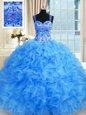 High Quality Baby Blue Lace Up Sweetheart Beading and Embroidery and Ruffles Quinceanera Dresses Organza Sleeveless