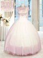 Beading Sweet 16 Quinceanera Dress Baby Pink Zipper Sleeveless Floor Length