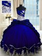Exceptional Pick Ups Ball Gowns Sleeveless Royal Blue 15th Birthday Dress Brush Train Lace Up