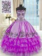 Purple Sleeveless Beading and Embroidery and Ruffled Layers Floor Length Ball Gown Prom Dress