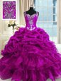 Sleeveless Organza Floor Length Lace Up Quinceanera Dresses in Fuchsia for with Beading and Ruffles and Pick Ups