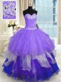 Flare Floor Length Multi-color Sweet 16 Quinceanera Dress Sweetheart Sleeveless Lace Up
