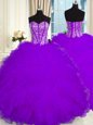 Sweetheart Sleeveless Sweet 16 Quinceanera Dress Floor Length Beading and Ruffles Purple Organza