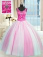 Suitable Baby Pink and Pink And White V-neck Neckline Beading Sweet 16 Quinceanera Dress Sleeveless Lace Up