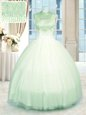 Perfect Sleeveless Zipper Floor Length Beading Quinceanera Gown