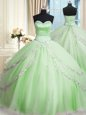 Affordable Apple Green Sleeveless Tulle Court Train Lace Up Quinceanera Dresses for Military Ball and Sweet 16 and Quinceanera