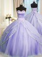 Lavender Sleeveless Court Train Beading and Appliques With Train 15th Birthday Dress