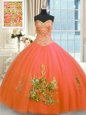 Ball Gowns Vestidos de Quinceanera Orange Red Sweetheart Tulle Sleeveless Floor Length Lace Up