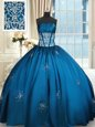 Sexy Blue and Teal Vestidos de Quinceanera Military Ball and Sweet 16 and Quinceanera and For with Beading and Appliques and Ruching Strapless Sleeveless Lace Up