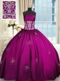 Adorable Sleeveless Floor Length Beading and Appliques and Ruching Lace Up Quinceanera Gown with Fuchsia