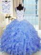 Sleeveless Lace Up Floor Length Beading and Appliques and Ruffles Quinceanera Gowns