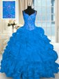 Blue Organza Lace Up Quince Ball Gowns Sleeveless Brush Train Beading and Embroidery and Ruffles and Pick Ups