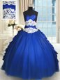 Cheap Royal Blue Lace Up Ball Gown Prom Dress Beading and Lace and Appliques and Ruffles and Pick Ups Sleeveless Floor Length