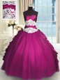 Fine Sweetheart Sleeveless Quince Ball Gowns Floor Length Beading and Lace and Ruching and Pick Ups Fuchsia Taffeta and Tulle