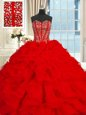 Hot Selling Organza Lace Up Sweetheart Sleeveless Floor Length 15th Birthday Dress Beading and Ruffles