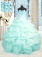 Popular Sweetheart Sleeveless Organza Quinceanera Gowns Beading and Ruffles Lace Up