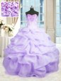 Beading and Ruffles 15 Quinceanera Dress Lavender Lace Up Sleeveless Floor Length