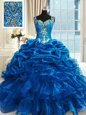 Ball Gowns Beading and Ruffles Ball Gown Prom Dress Lace Up Organza Sleeveless Floor Length