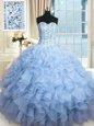 Beading and Ruffles and Sequins Quinceanera Gown Light Blue Lace Up Sleeveless Floor Length