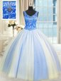 Low Price Sleeveless Tulle Floor Length Lace Up Quinceanera Gown in Blue And White for with Beading and Sequins