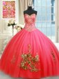Superior Coral Red Lace Up Sweetheart Beading and Appliques and Embroidery 15 Quinceanera Dress Tulle Sleeveless