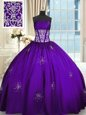 Taffeta Sweetheart Sleeveless Lace Up Beading and Appliques and Ruching Quinceanera Gown in Purple