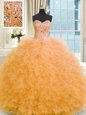 Orange Ball Gowns Tulle Strapless Sleeveless Beading and Ruffles Floor Length Lace Up Quinceanera Dresses