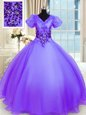 Cheap Ball Gowns Vestidos de Quinceanera Lavender V-neck Organza Short Sleeves Floor Length Lace Up