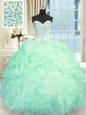 Baby Blue Sleeveless Organza Lace Up Sweet 16 Dresses for Military Ball and Sweet 16 and Quinceanera