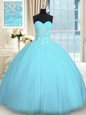Exquisite Tulle Sweetheart Sleeveless Lace Up Appliques Quinceanera Dress in Light Blue
