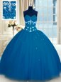 Unique Floor Length Lace Up Quince Ball Gowns Navy Blue and In for Military Ball and Sweet 16 and Quinceanera with Appliques