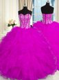 Popular Sweetheart Sleeveless Organza Quinceanera Dresses Beading and Ruffles Lace Up