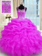 Captivating Fuchsia Sleeveless Beading and Ruffled Layers Floor Length Quinceanera Gown