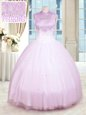Lilac Ball Gowns High-neck Sleeveless Tulle Floor Length Zipper Beading Quinceanera Dress