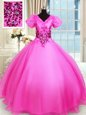 High End Hot Pink Short Sleeves Organza Lace Up Quinceanera Gown for Military Ball and Sweet 16 and Quinceanera