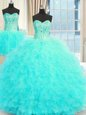 Latest Three Piece Floor Length Aqua Blue Quinceanera Dress Strapless Sleeveless Lace Up