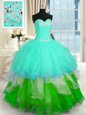 New Style Tulle Sleeveless Floor Length Quinceanera Dresses and Beading