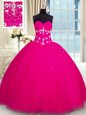 Graceful Beading Quinceanera Dress Fuchsia Lace Up Sleeveless Floor Length