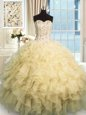 Flare Champagne Ball Gowns Beading and Ruffles Sweet 16 Quinceanera Dress Lace Up Organza Sleeveless Floor Length
