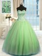 High Quality Sweetheart Sleeveless Organza Quince Ball Gowns Beading and Ruching Lace Up