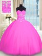 Beautiful Pink Vestidos de Quinceanera Military Ball and Sweet 16 and Quinceanera and For with Appliques Sweetheart Sleeveless Lace Up