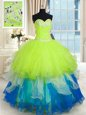 Decent Purple Ball Gowns Beading and Embroidery and Ruffles Quinceanera Gown Lace Up Organza Long Sleeves Floor Length