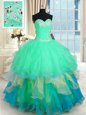 Artistic Four Piece Sweetheart Sleeveless Sweet 16 Dresses Floor Length Beading and Ruffles and Ruching Red Organza