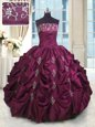 Romantic Pick Ups Burgundy Sleeveless Taffeta Lace Up Quinceanera Dress for Military Ball and Sweet 16 and Quinceanera