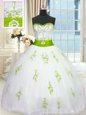 White Lace Up Sweetheart Appliques and Belt Quinceanera Gown Tulle Sleeveless
