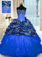 Glamorous Royal Blue Strapless Lace Up Beading and Embroidery 15 Quinceanera Dress Sleeveless