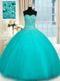 Colorful Sleeveless Floor Length Beading Lace Up 15 Quinceanera Dress with Turquoise