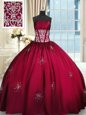 Wine Red Sleeveless Beading and Appliques and Ruching Floor Length 15 Quinceanera Dress